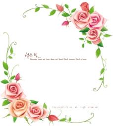玫瑰花与藤蔓边框psd素材