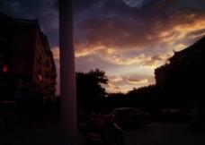 城市街道傍晚风景图片