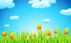 蓝天白云绿草鲜花 春天背景图片