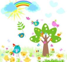可爱绿树小鸟 春天背景图片