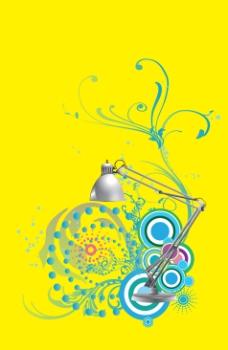灯与时尚花纹图案  分层素材  创意设计