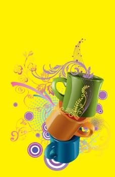 杯子与花纹图案 分层素材 花纹 圆圈