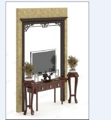 中式的电视墙模型