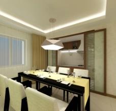 现代餐厅灯效果图图片