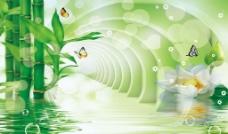 3D竹子背景墙 分层图片