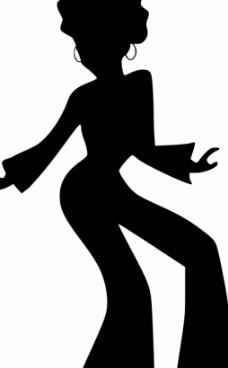 女舞者的剪影矢量图像