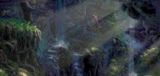 林间泉水图片