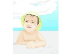 海滩边的小孩动漫卡通矢量图图片