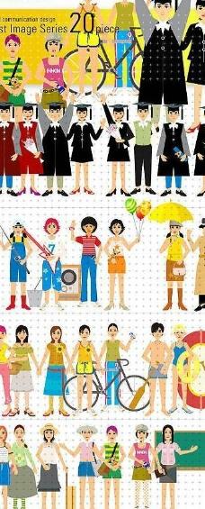 韩国校园生活男女生卡通人物素材图片