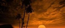 海滩黄昏图片