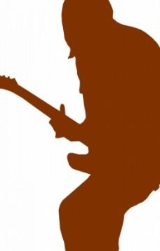 吉他手剪影矢量