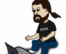 漫画人物与笔记本电脑插画矢量