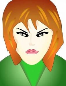 愤怒的女人矢量的脸
