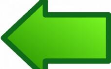 绿色箭头指向左矢量图像