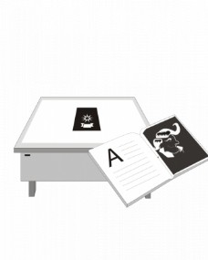 桌上的书和它旁边的矢量图形