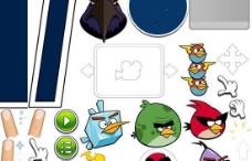 愤怒的小鸟游戏角色PSD卡通