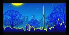 卡通月亮星光城市视频