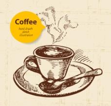 手绘食咖啡图片
