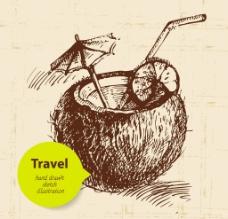 手绘椰汁图片