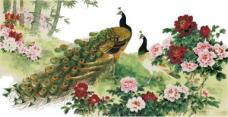 十字绣孔雀和花图纸