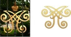 双A字母花形设计