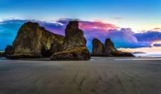 退潮时海边美景图片