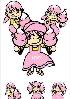 卡通形象-粉红冰淇淋女生图片