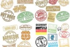 磨损印签复古标签矢量素材