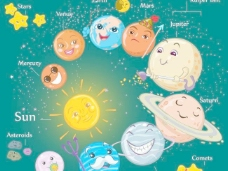 矢量宇宙行星卡通素材设计