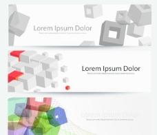 矢量动感立体方块彩色横幅设计