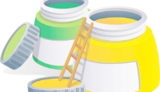 矢量彩色油漆桶素材图片
