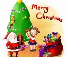 圣诞老人与可爱女孩psd分层模板