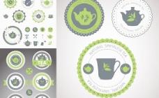 茶餐厅标签矢量图