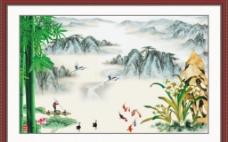 晚霞山水画