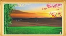沙漠绿洲风景画