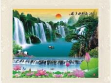 荷塘山水画