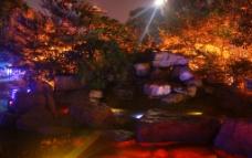 彩灯下的溪涧图片