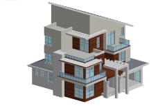 现代创意设计独栋多层别墅