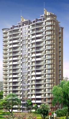 塔式高级高层住宅建筑3d模型