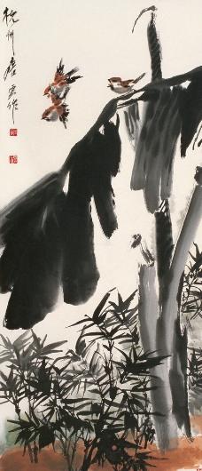 芭蕉竹鸟图图片