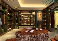 复古茶店3D效果图图片