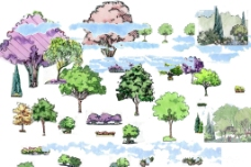 景观手绘效果素材图片