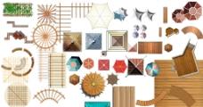 亭子廊架木平台平面图图片