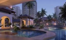 酒店室外水景效果图图片