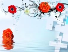 3D花卉墙画