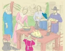 朝圣者庆祝第一个感恩节晚餐