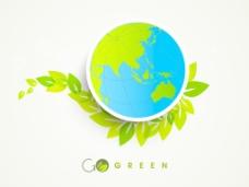 在绿色的叶子背景全球自然背景