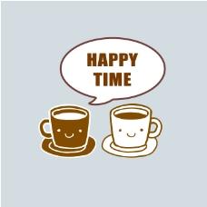 印花矢量图 生活元素 咖啡杯 文字 英文 免费素材
