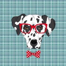 印花矢量图 动物 狗 几何 方形 免费素材