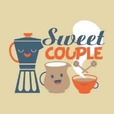 印花矢量图 可爱卡通 卡通静物 咖啡壶 咖啡杯 免费素材